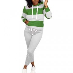 KIRJAUDU Womens 2 Piece Outfits Color Block Stripe Long Sleeve Pullover Hoodies Bodycon Pants Tracksuit Set