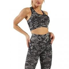 Mulisky Women's 2 Piece Workout Outfits Crop Tank Seamless Cutout Back High Waist Yoga Sports Leggings Tracksuits Sets