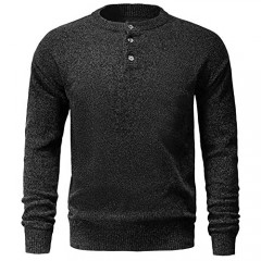 GABOB Men's Pullover Sweater  Crewneck Knitted Henley Shirt with Button