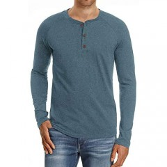 Yingqible Men's Long Sleeve Henley Shirts Casual Basic Crew Neck T-Shirts Slim Fit Button Tops