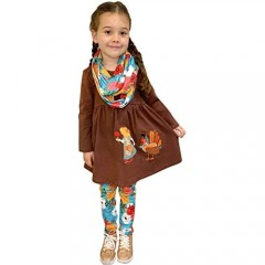 Boutique Clothing Girls Fall Colors Thanksgiving Turkey Day Top Leggings Scarf Outfit 3-pc Sets