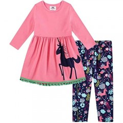 Herimmy Girls' Unicorn Pants Set 2 Pieces Long Sleeve Top Clothes Set Outfit Fall Winter Leggings Set