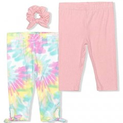 Young Hearts Girl's 2-Pack Solid and Glitter  Rib Tie Dye or Glitter Floral Legging Pant Set with Hair Bow Scrunchie