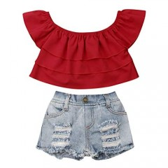 Toddler Baby Girls Summer Outfits Ruffle Crop Top Off The Shoulder Blouse Distressed Jeans Ripped Denim Shorts Set
