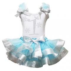 Petitebella Rhinestones Snowflake 1 to 6 White Shirt Blue Silver Petal Skirt Outfit