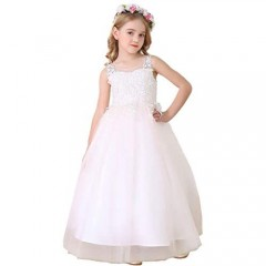 Bow Dream Lace Flower Girl Dress Tulle Wedding First Holy Communion Baptism Dress