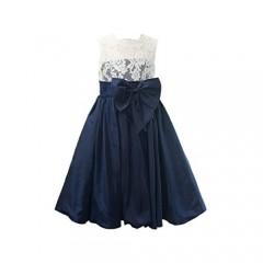 Miama Ivory Lace Navy Blue Taffeta Wedding Flower Girl Dress Junior Bridesmaid Dress